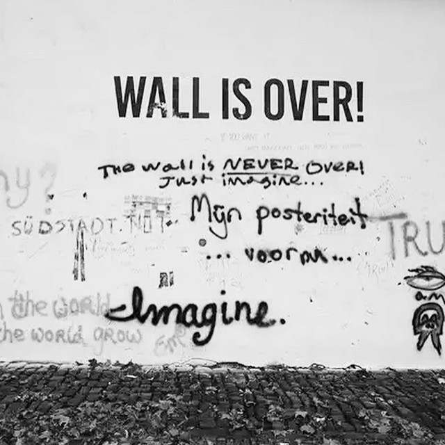 The John Lennon Wall shortly after it was buffed by Prague Service (photo by @matushy/Instagram)