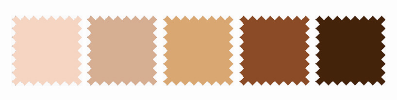 The color swatches corresponding to the proposed range of emoji skin tones