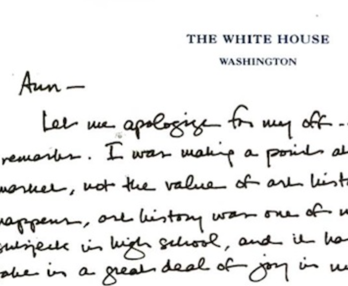 A snippet of Obama's apology letter to Prof. Ann Collins Johns (via)