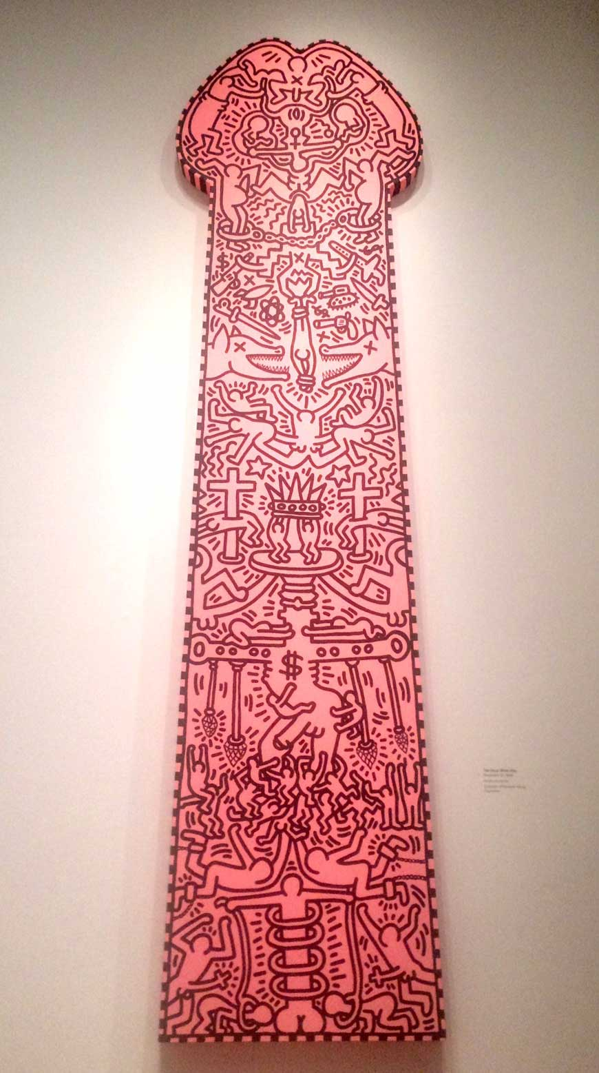 """Keith Haring, """"The Great White Way"""" (1988), acrylic on canvas, 168 x 45 in (click to enlarge)"""
