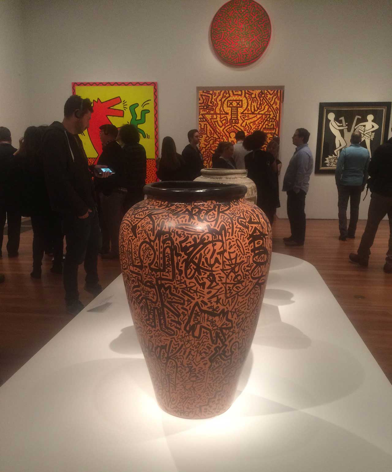 Installation view, 'Keith Haring: The Political Line' at the de Young Museum (all photos by the author for Hyperallergic unless otherwise noted)