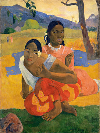 """Paul Gauguin, """"Nafea Faa Ipoipo (When Will You Marry?)"""" (1892), oil on canvas, 101 x 77 cm (via Wikipedia.org)"""