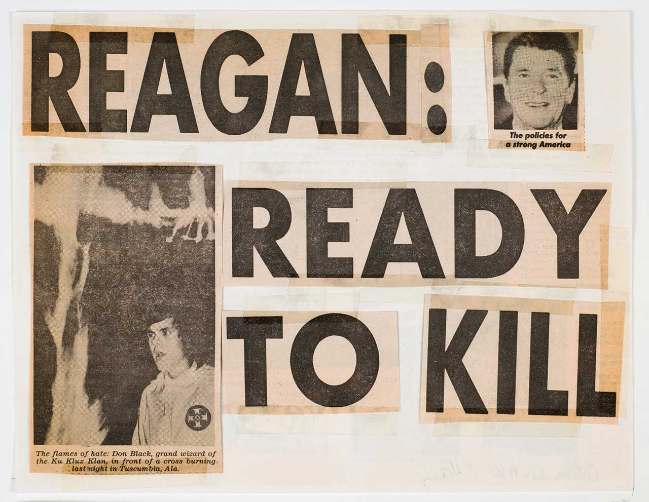 """Keith Haring, """"Reagan: Ready to Kill"""" (1980), newspaper fragments and tape on paper (from a series of 8), each 8 1/2 x 11 in (21.6 x 27.9 cm), Collection of the Keith Haring Foundation (© 2014, Keith Haring Foundation) (click to enlarge)"""