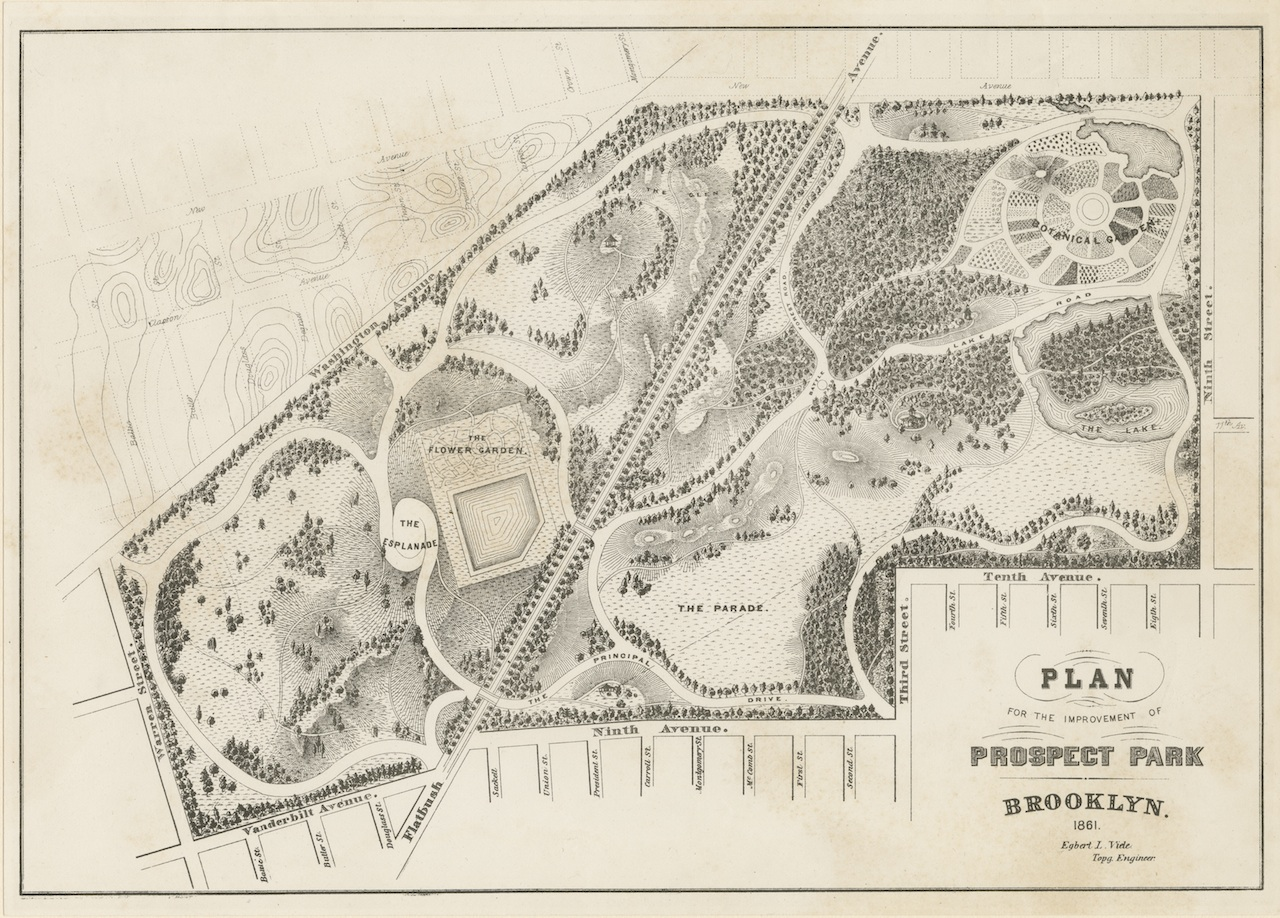 With Beebe: Plan for the Improvement of Prospect Park, Egbert L. Viele, 1861; Flat Maps B PP-1861.fl; Brooklyn Historical Society.