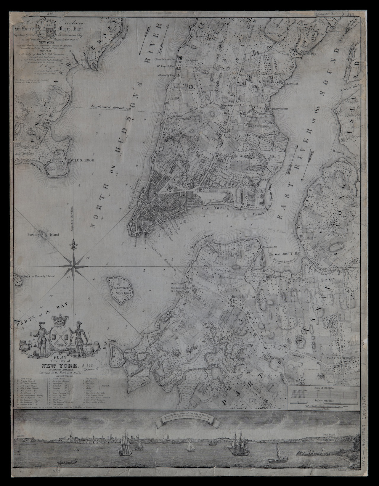 With Bejar: Plan of the City of New York in North America, Surveyed in the Years 1766 & 1767, Bernard Ratzer, Thomas Kitchin, 1854; Flat Maps 1766-1767 (1854).fl; Brooklyn Historical Society.