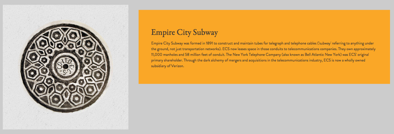 Illustration & description of an Empire City Subway manhole cover