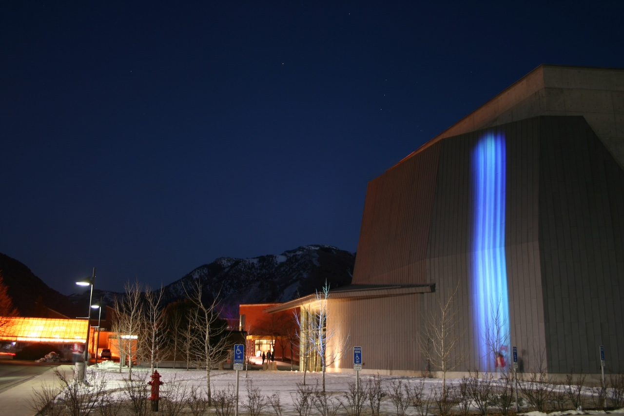 """Andrea Polli, """"Particle Falls,"""" installed at Utah State University (photograph by Mikey Kettinger)"""