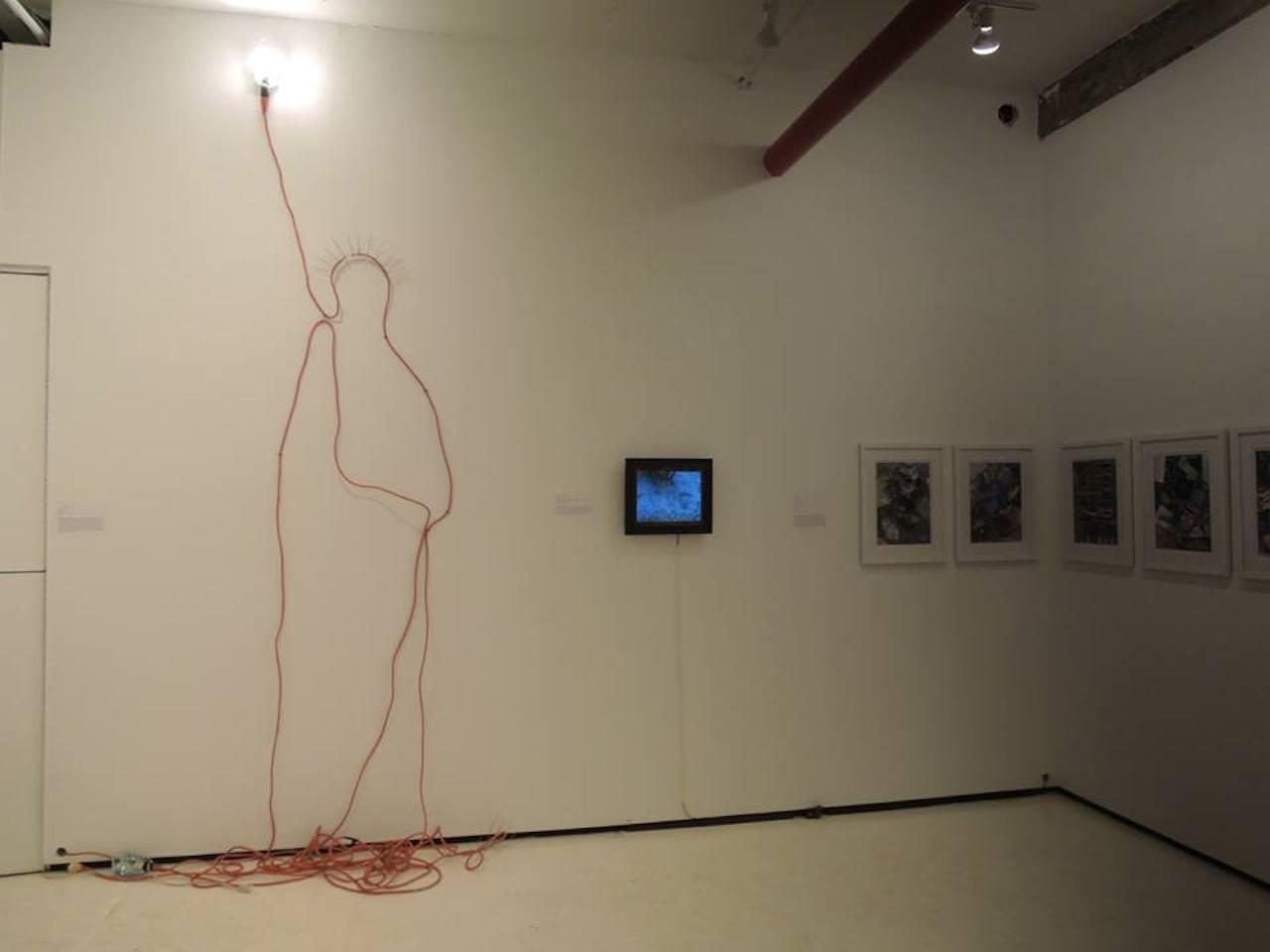 "ALBERTO MARCOS BURSZTYN ""Utilitarian Liberty"" (2015), mixed media, 25' utility lamps, pigeon spikes"