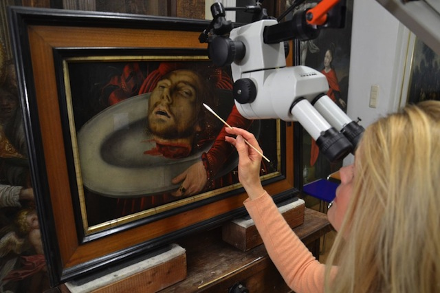 """The restoration of """"Bowl With the Head of John the Baptist"""" by Lucas Cranach the Elder (Image courtesy of Gotha Info)"""