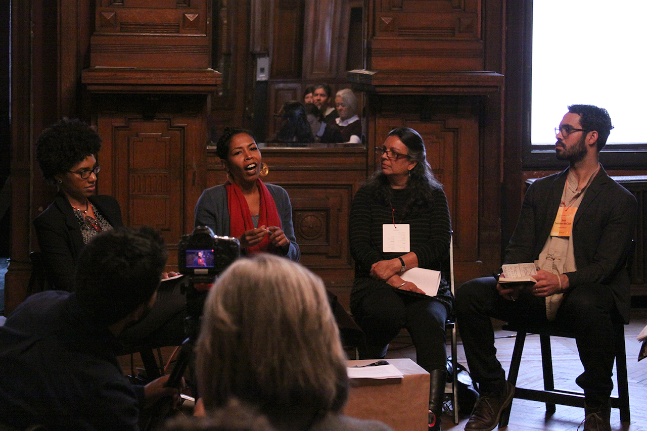 Towards Equity, Access, and Social Justice. From left: LaToya Ruby Frazier, Fadwa Abbas, Dipti Desai,  Jose Serrano-Mclain. © Lloyd Mulvey. All images courtesy of ART21.