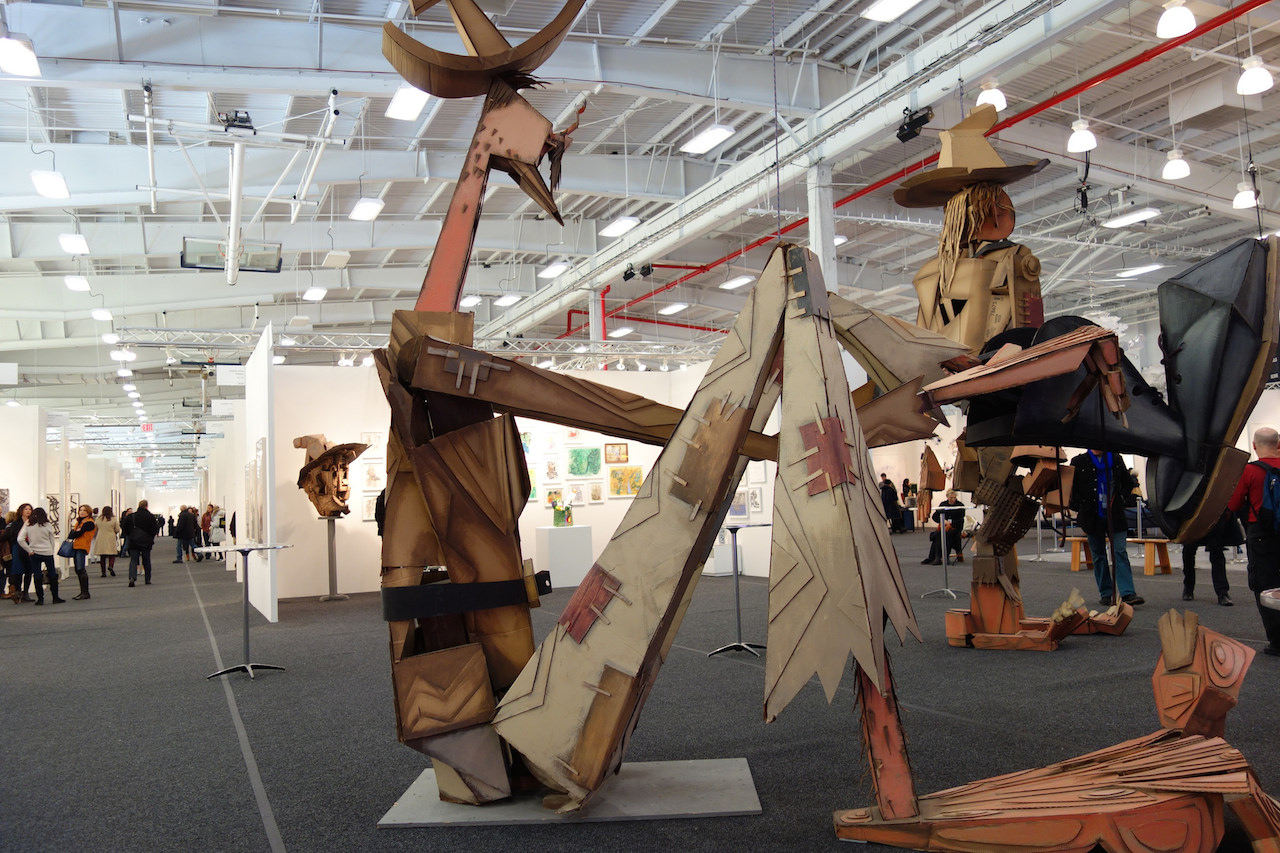 Puppets by Wayne White at Art on Paper (photo by Allison Meier/Hyperallergic)