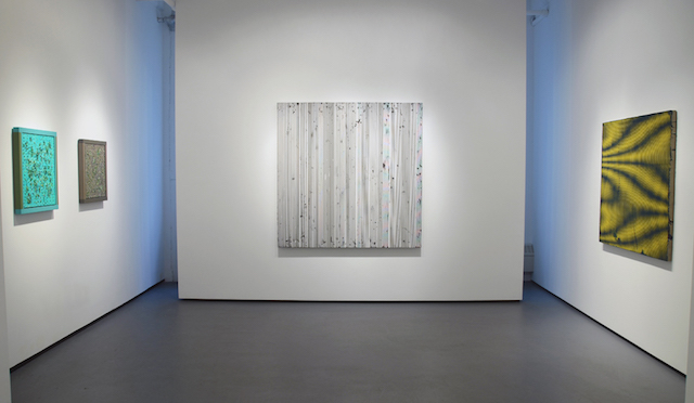 """Installation view: """"Breaking Pattern"""" at Minus Space, with works by (right to left)  Douglas Melini, Michael Scott and Anoka Faruqee (All images via minusspace)"""