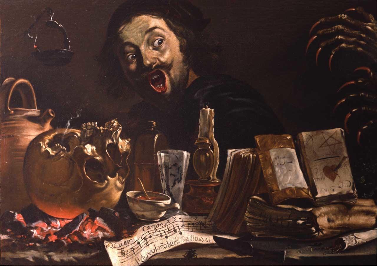"Pieter Boddingh van Laer, ""Self-portrait in a Magic Scene"" (circa 1638-1639) oil on canvas, 78,8 x 112,8 cm © Courtesy The Leiden Collection, New York."