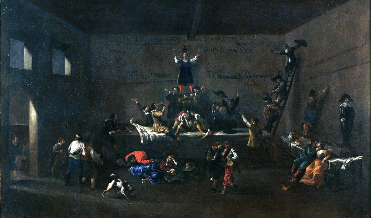 "Roeland van Laer, ""The Bentvueghels in a Roman Tavern"" (1626-1628) Oil on canvas, 88,5 x 147,5 cm © Roma Capitale, Sovrintendenza Capitolina ai Beni Culturali, Museo di Roma"