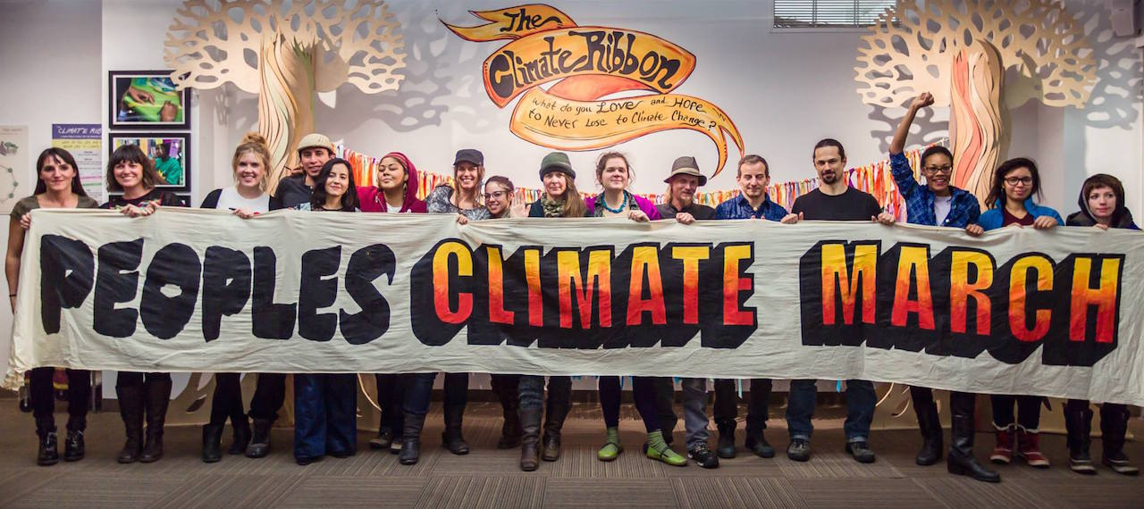 The People's Climate Arts Crew with Mayday and Climate Ribbon crews at Thoughtworks (photo by Robert Pluma)