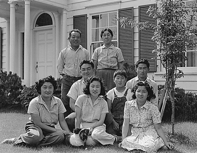 Mountain View, CA, April 1942. The Shibuya family pictured at their home before being forcibly relocated by the US Army (Photo by Dorothea Lange for the WRA / Courtesy of the Central Photographic File of the War Relocation Authority, National Archives (National Archives Identifier 536037))