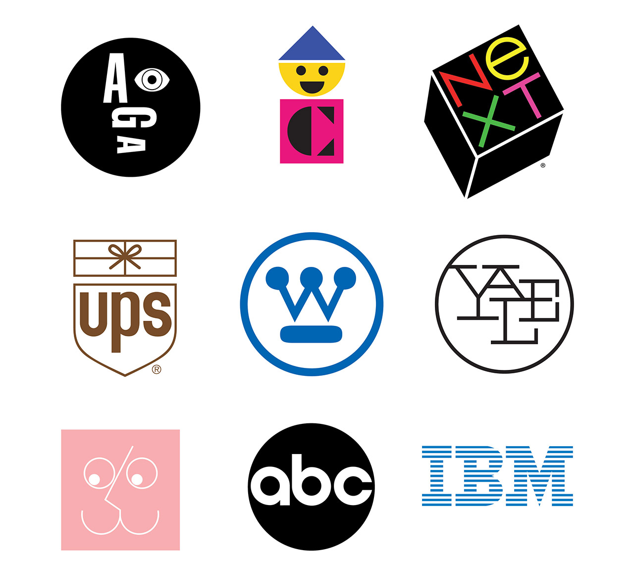 Some of the corporate logos Paul Rand is best remembered for. (image via irishtimes.com)