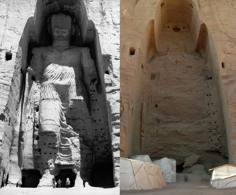 The taller Buddha of Bamiyan before and after the 2001 destruction (photos by UNESCO/A Lezine, via Wikimedia)