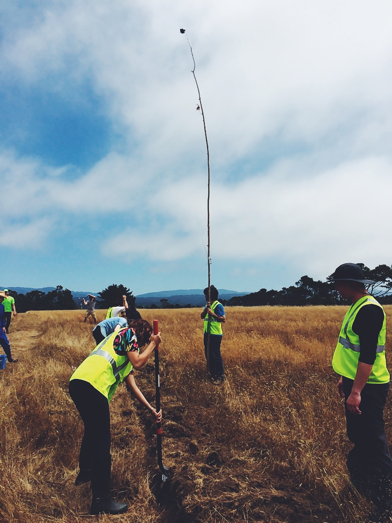World Wide West participants trenching in 60 acres of land with the extra long selfie stick