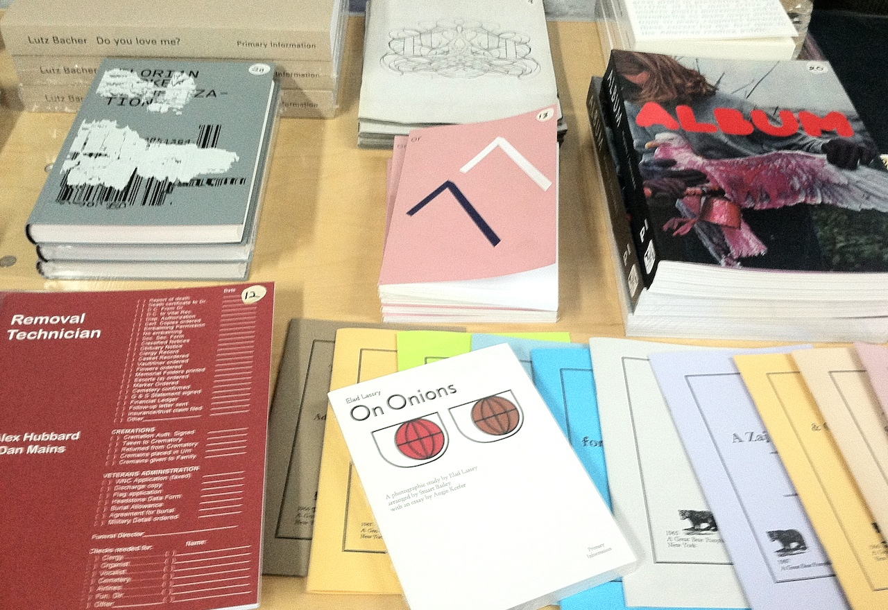 Primary Information's table at the Bushwick Art Book and Zine Fair