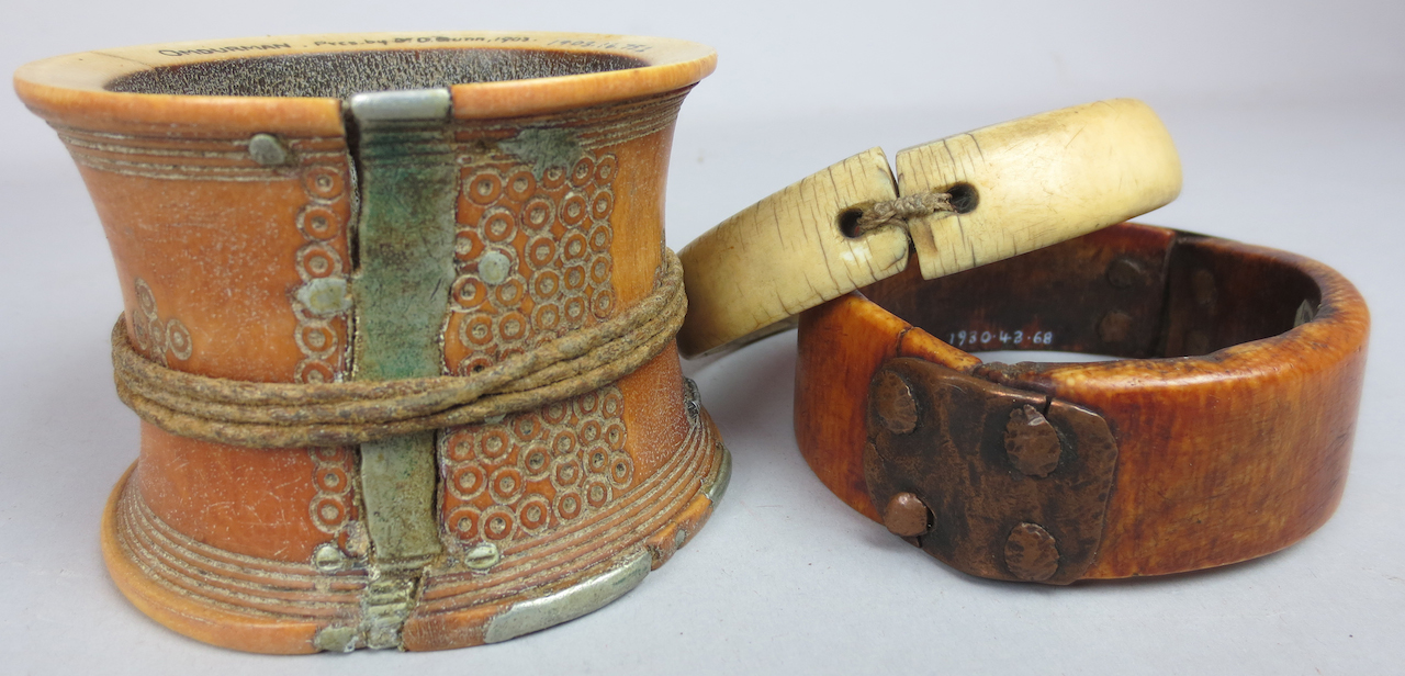 Three arm ornaments from Africa demonstrating different repair methods. (1930, 1939, & 1903) (courtesy Pitt Rivers Museum, University of Oxford)