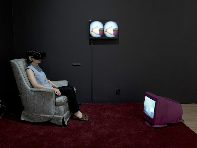 """Sarah Rothberg, """"Memory/Place: My House"""" (2014-2015). Virtual reality environment, Oculus Rift headset, swivel chair, CRT television monitor."""