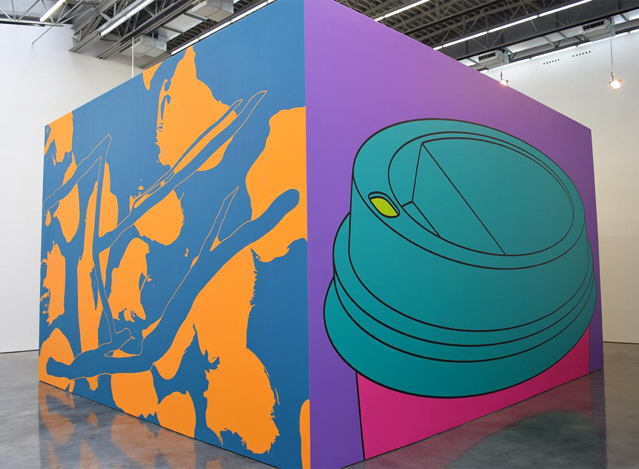 """Arturo Herrera, """"Come Again"""" (2015, left) and Michael Craig-Martin, """"To Go"""" (2015, right) at Gladstone Gallery"""