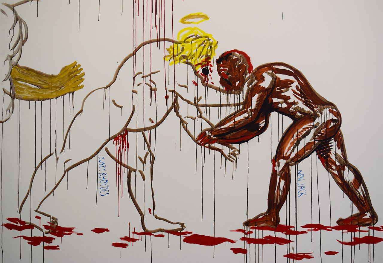 """Detail of Raymond Pettibon, """"No Title (Arts and letters...)"""" (2015) at Gladstone Gallery"""