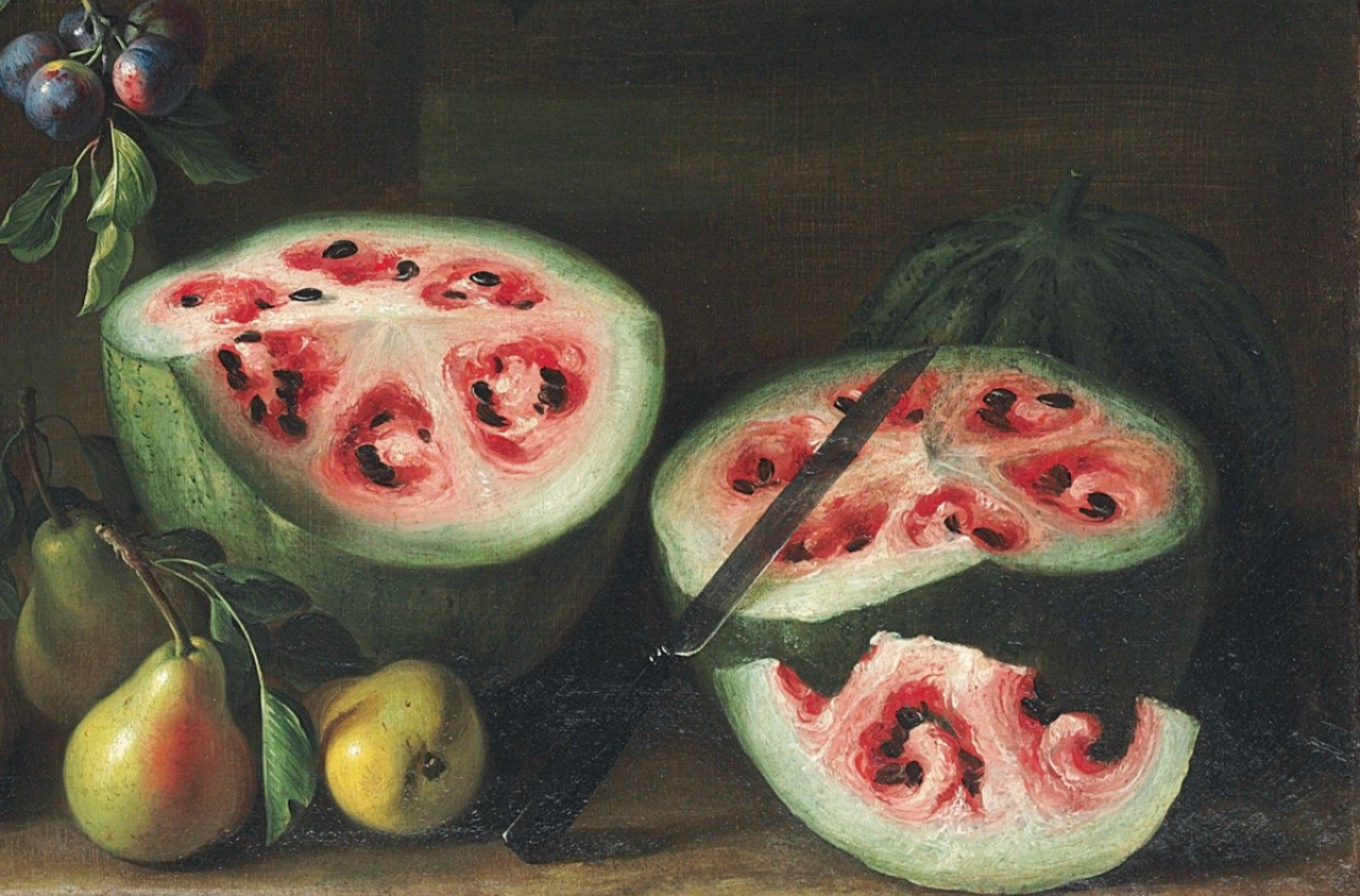 """Giovanni Stanchi, """"Watermelons, peaches, pears and other fruit in a landscape"""" (1645-72) (detail), oil on canvas (courtesy Christie's)"""