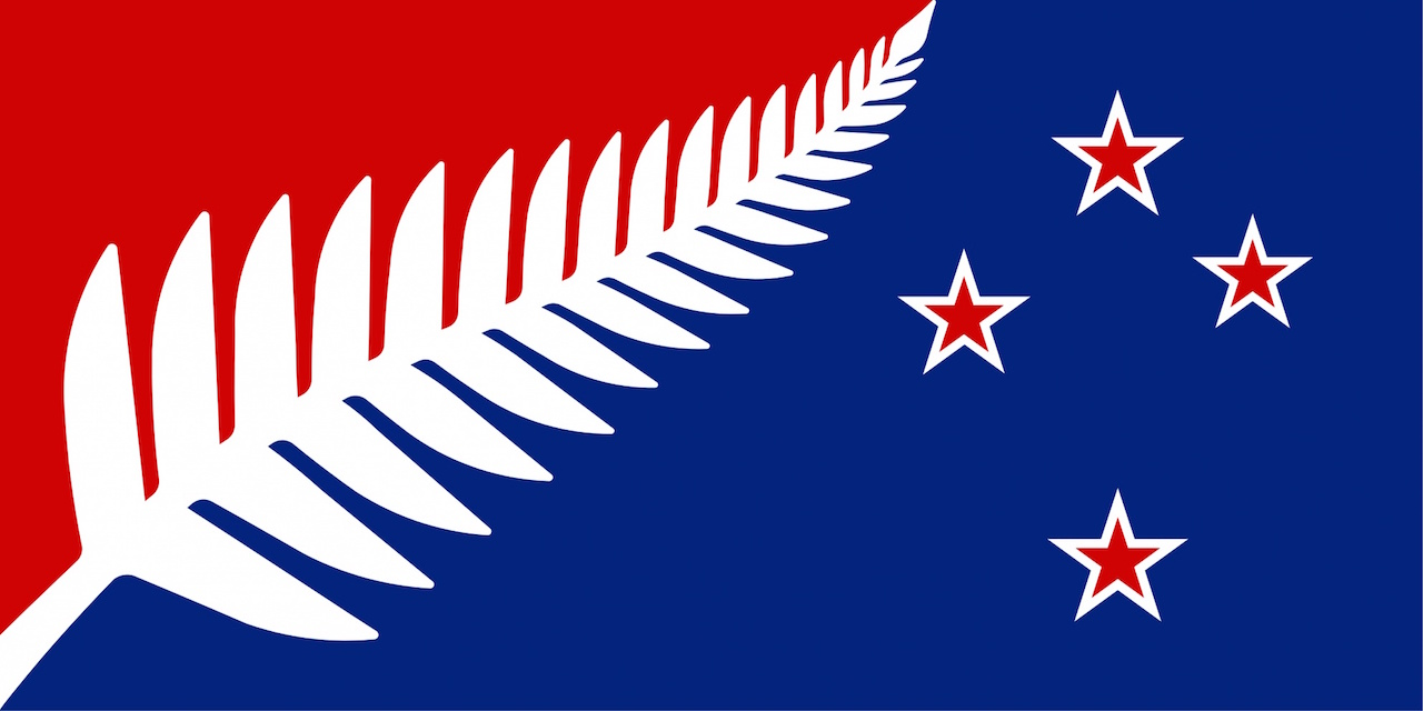 """""""Silver Fern (Red, White & Blue), designed by Kyle Lockwood from Wellington"""