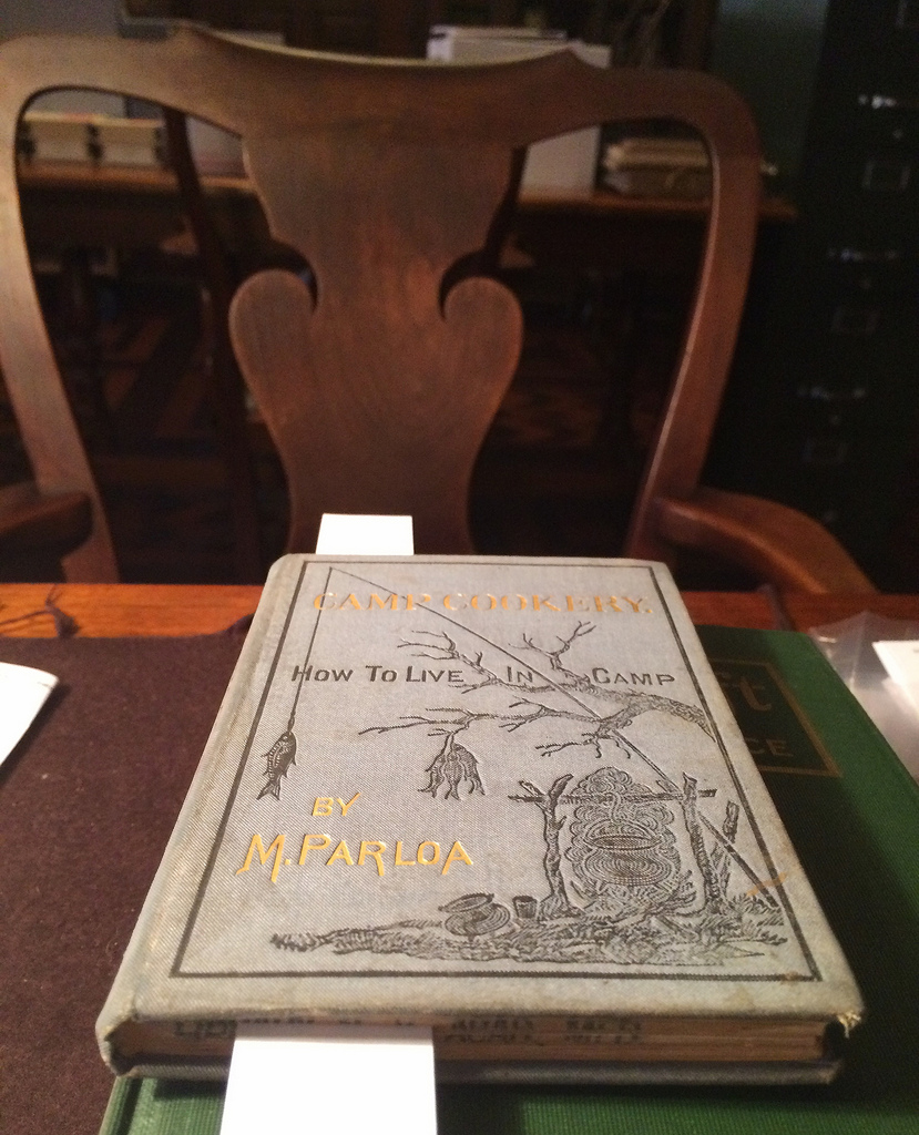 'Camp cookery. How to live in camp' by Maria Parloa (1878) (photo of the book at NYAM for Hyperallergic)