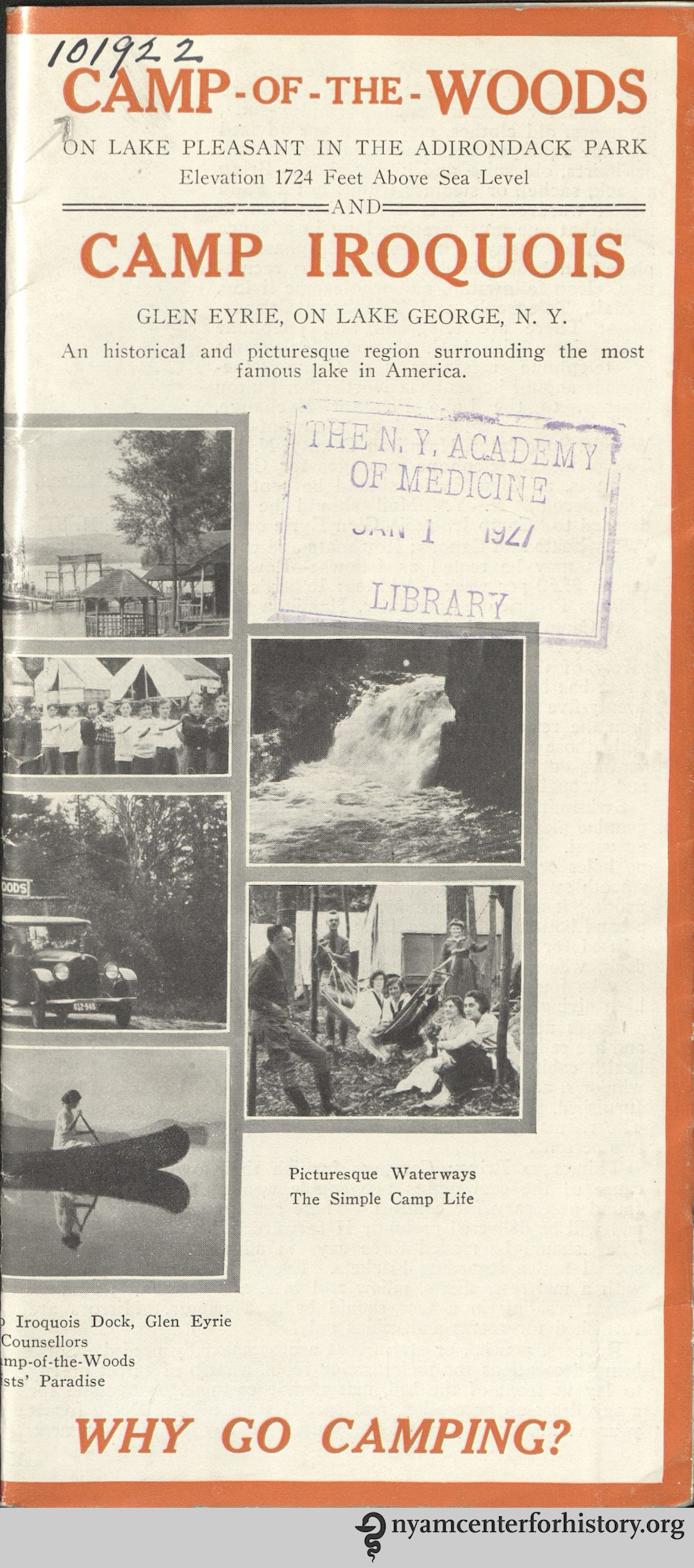 Camp-of-the-Woods, on Lake Pleasant in the Adirondack Park and Camp Iroquois, Glen Eyrie, on Lake George, N.Y. (1925)