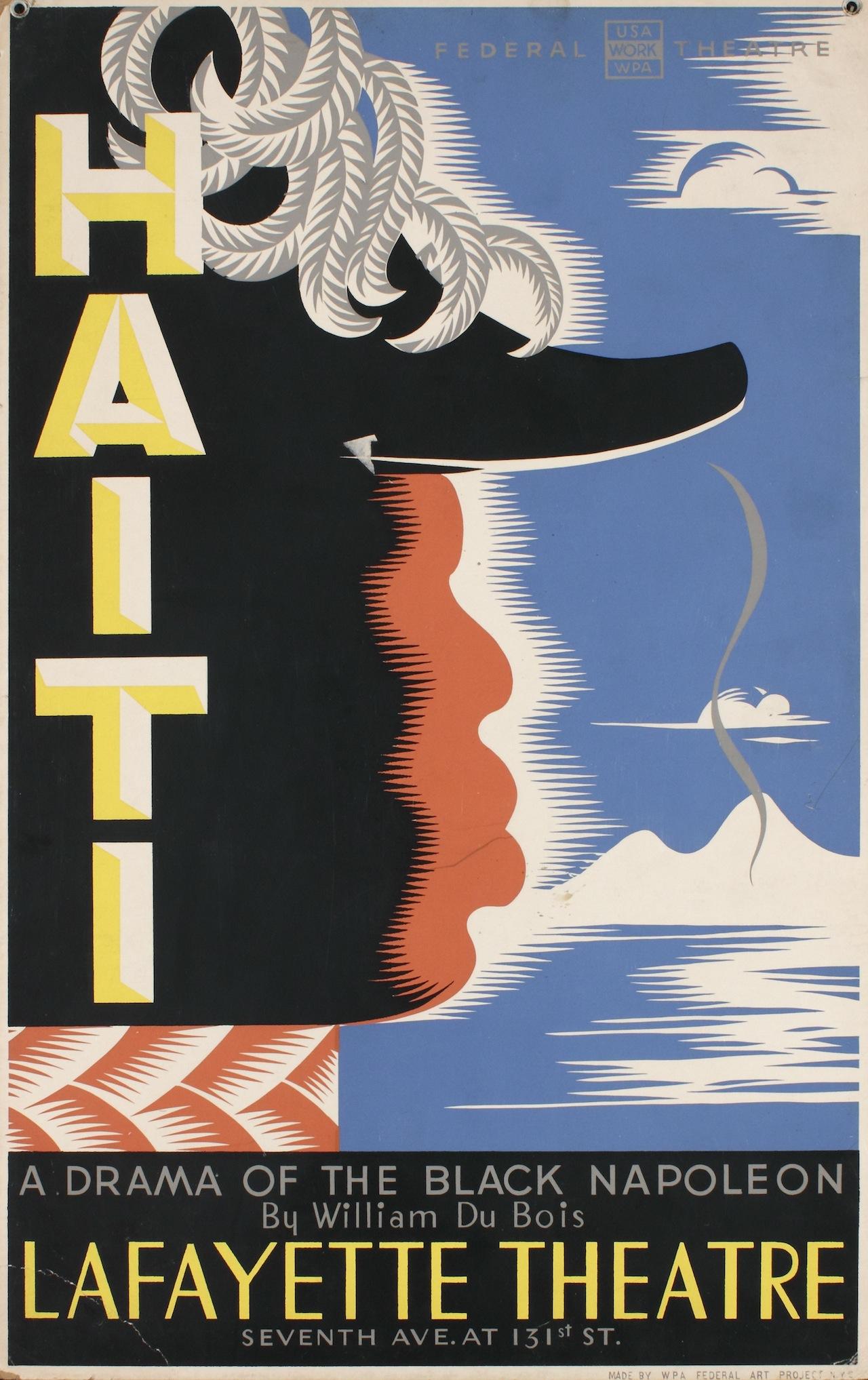 """Vera Bock, """"Haiti; A Drama of the Black Napoleon by William Du Bois at Lafayette Theatre"""" (1938), screenprint on board, Collection of Merrill C. Berman"""