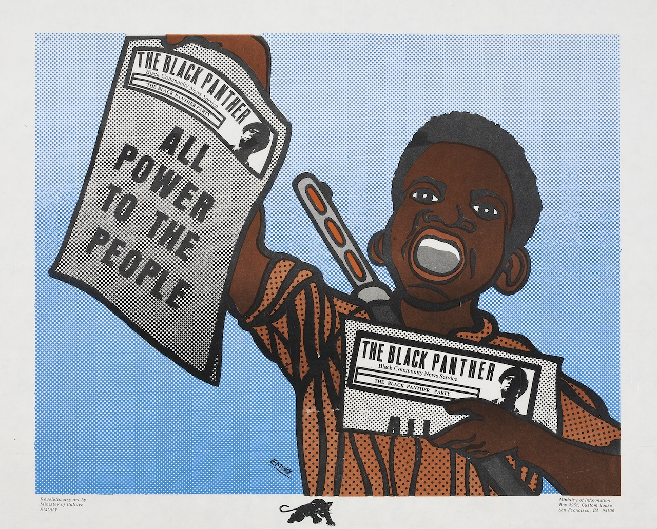 """Emory Douglas, """"All Power To The People"""" (1969), lithograph on paper, Collection of Merrill C. Berman (© 2015 Artists Rights Society [ARS], New York)"""