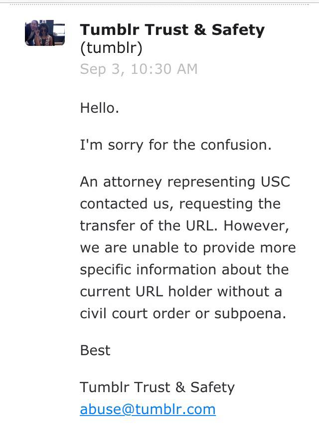 Email sent from Tumblr Trust and Safety to USC Roski students.