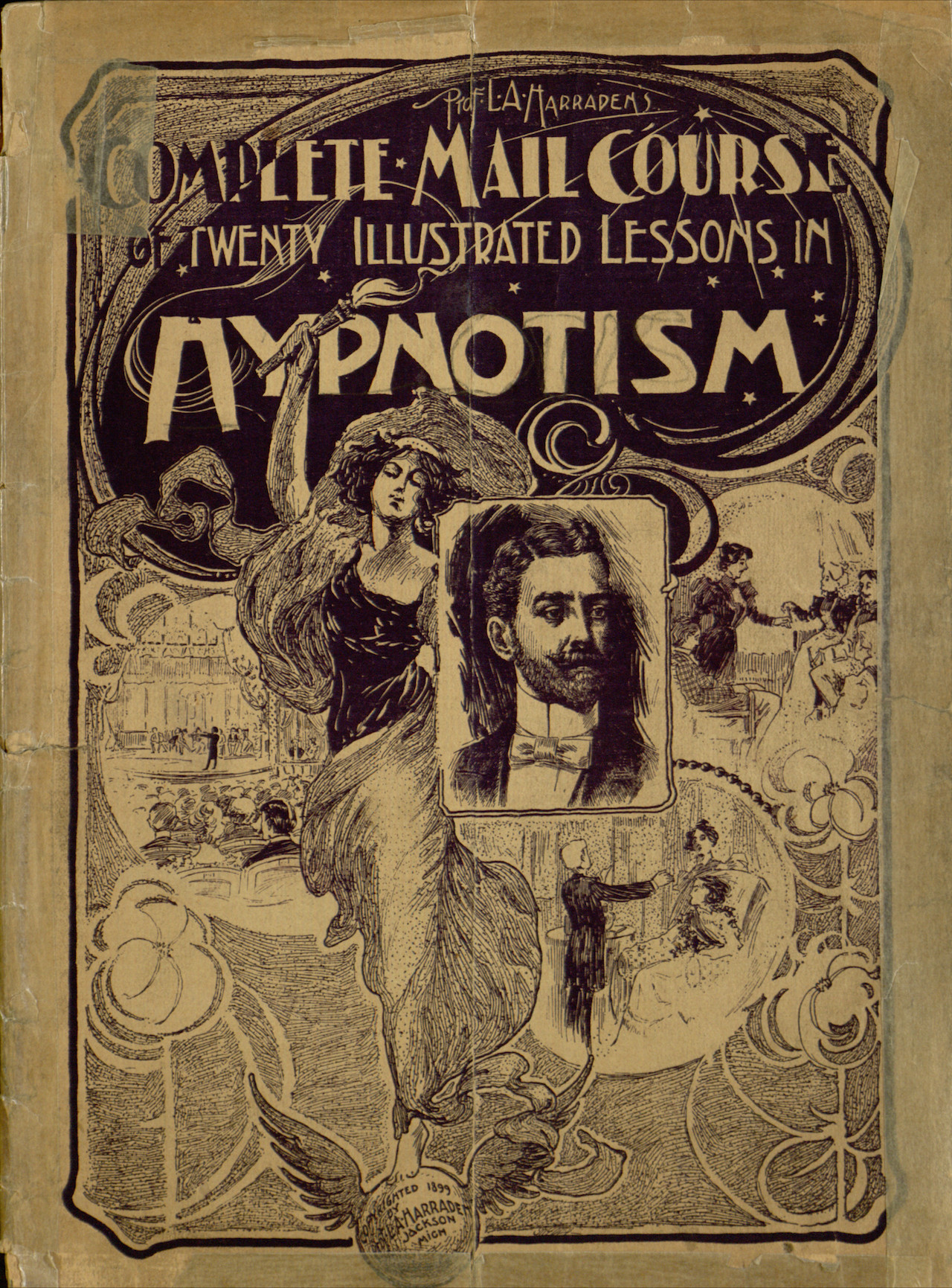 'Complete Mail Course of Twenty Illustrated Lessons in Hypnotism' (c. 1900) by Prof. L. A. Harraden (Image via , licensed under the Attribution-ShareAlike 3.0 Unported, CC BY-SA 3.0)