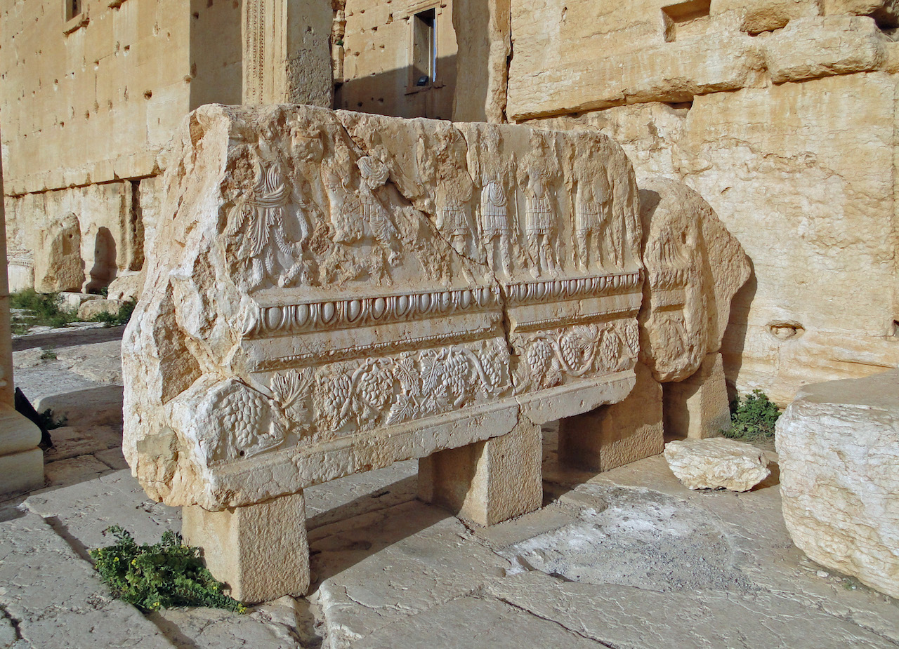 A relief from the temple of Bel, Palmyra, which ISIS recently attacked (image via Wikipedia)