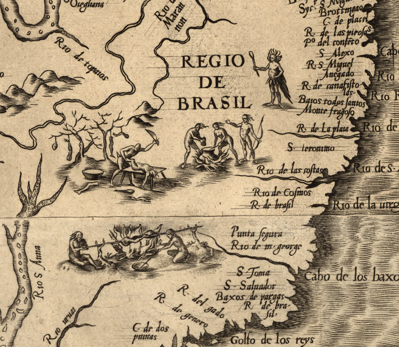 Detail of cannibals in Brazil on Diego Gutiérrez's 'Americae' (1562) (via Library of Congress)