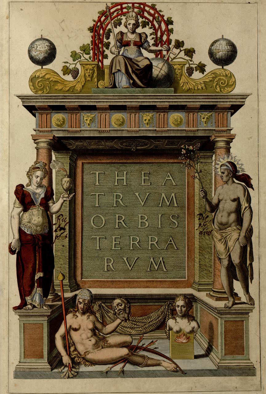 Cover page for Abraham Ortelius's atlas 'Theatrum orbis terrarum' (1570) (via Library of Congress)