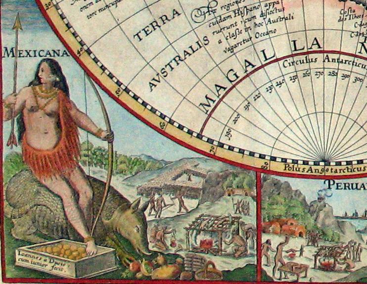 Details of cannibalism on Petrus Plancius's 'Orbis Terrarum Typus de Integro Multis in Locis Emendatus' (1594) (via Wikimedia)