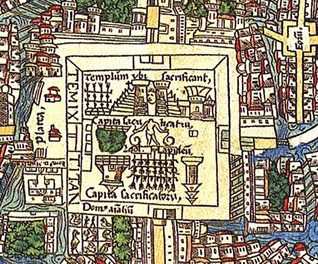 Detail of a temple complex with a decapitated human next to skull racks on Hernán Cortés's 'Map of Tenochtitlan' (1524) (via Wikimedia)