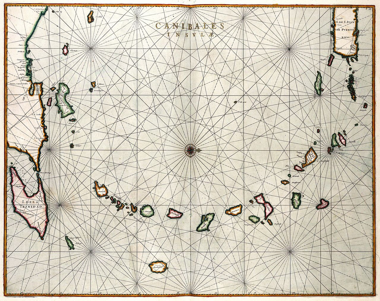 """Joan Blaeu's """"Canibales Insulae"""" map of cannibal islands in 'Atlas Major' (1662) (via KB, National Library of the Netherlands)"""