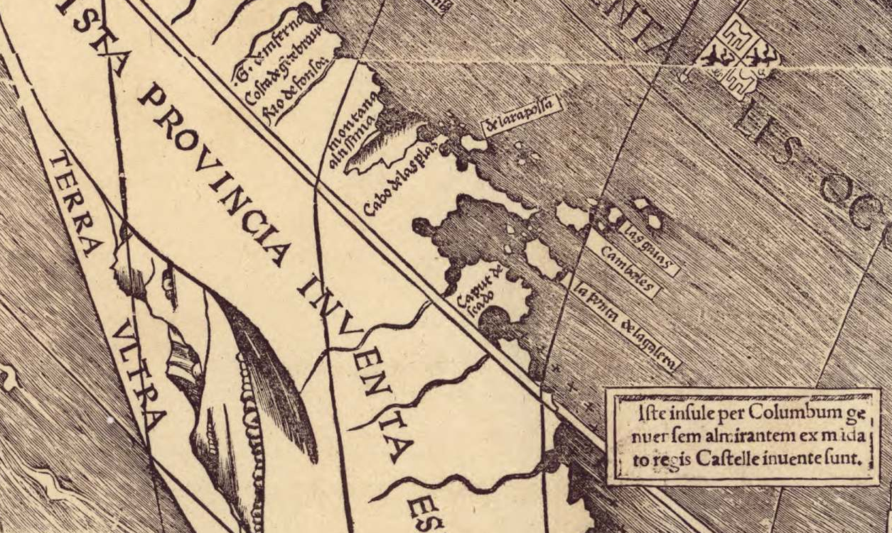 Detail of a cannibal island on Martin Waldseemüller's 'Universalis Cosmographia' (1507) (via Library of Congress)