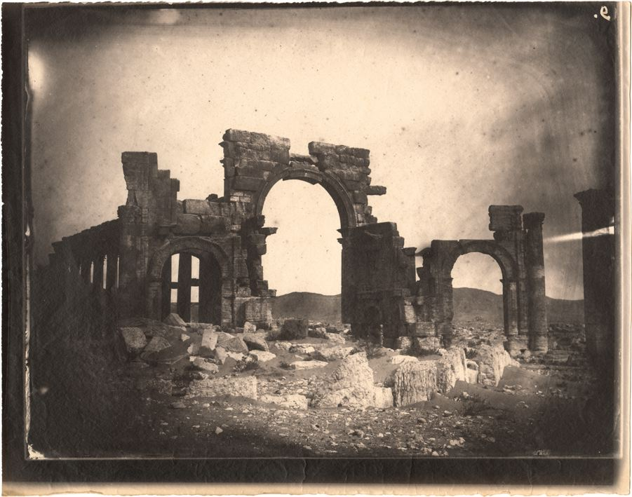 Triumphal arch and great colonnade, Palmyra, Syria, albumen print, 1864 (negative by Louis Vignes, photograph printed by Charles Nègre) (all images courtesy Getty Research Institute)