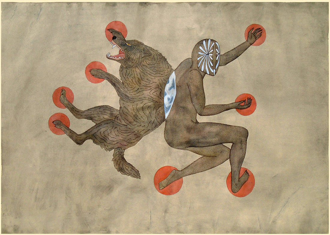 """Rithika Merchant, """"Lycanthropy"""" (2015), gouache and ink on paper (image via Stephen Romano Gallery)"""