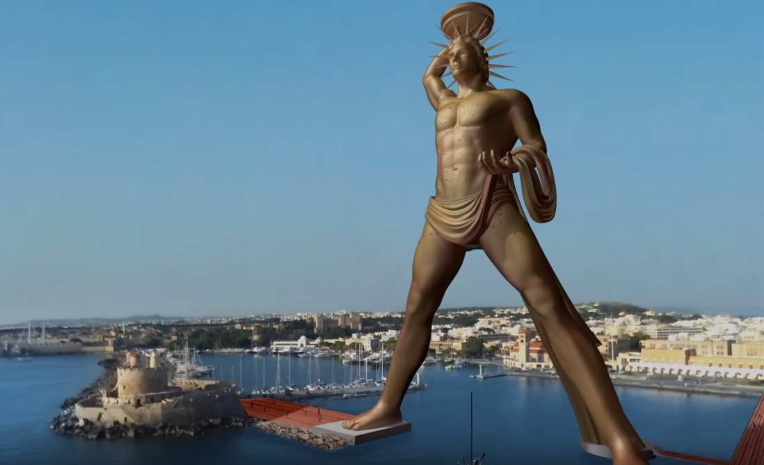 The proposed design for the Colossus of Rhodes (screenshot via Youtube)