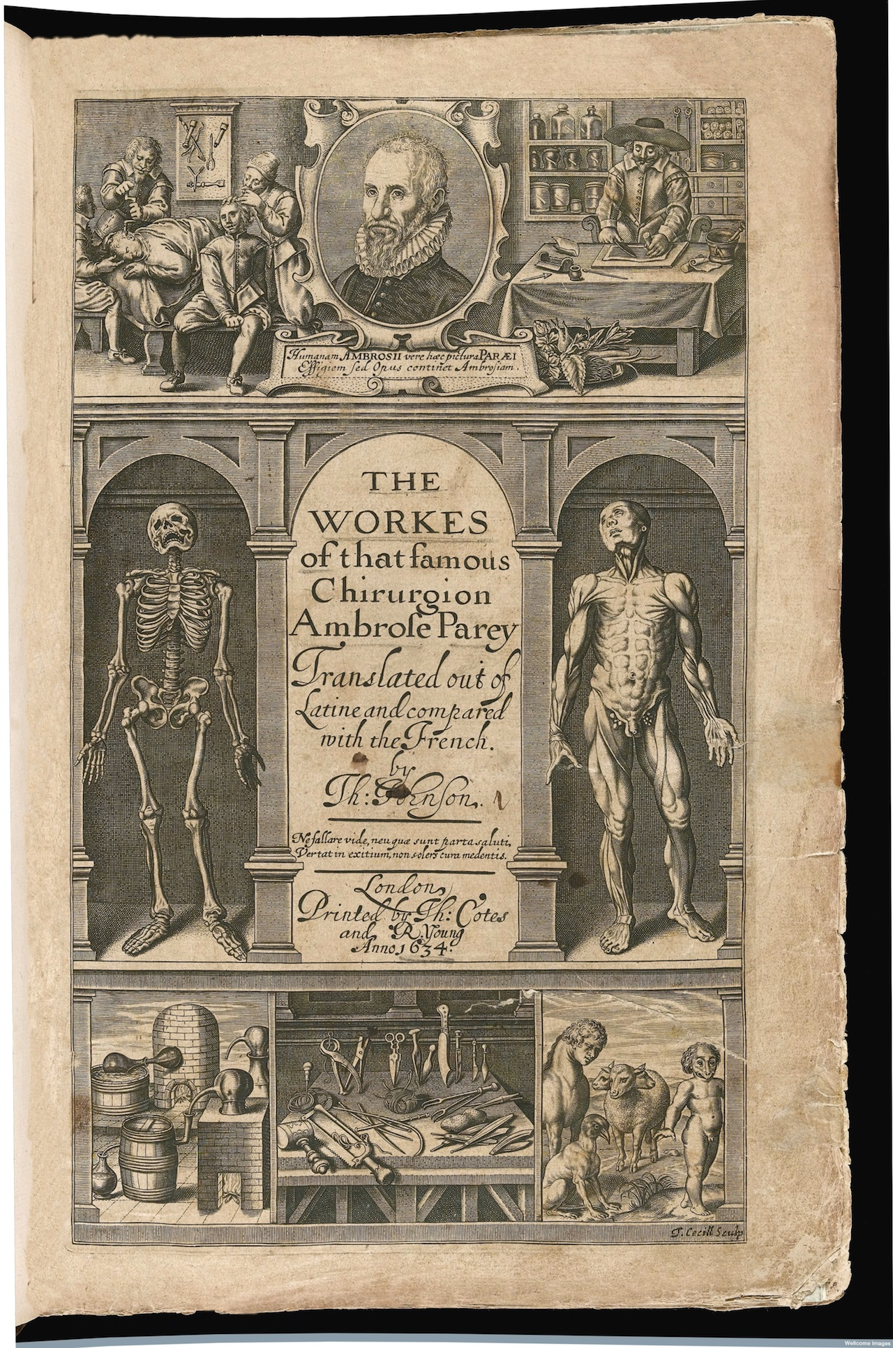 L0041056 The Workes, Frontispiece Credit: Wellcome Library, London. Wellcome Images images@wellcome.ac.uk http://wellcomeimages.org The Workes, Frontispiece 1634 By: Ambroise ParÈThe workes of ... Ambrose Parey Ambroise ParÈ Published: 1634 Copyrighted work available under Creative Commons Attribution only licence CC BY 4.0 http://creativecommons.org/licenses/by/4.0/