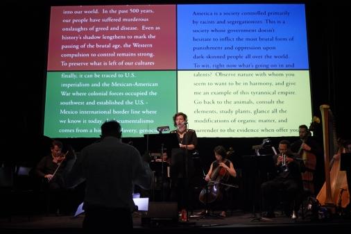 "Charles Gaines, ""Manifesto"" MOMA Performance (2014) (Photo by Julieta Cervantes, via redcat.org)"