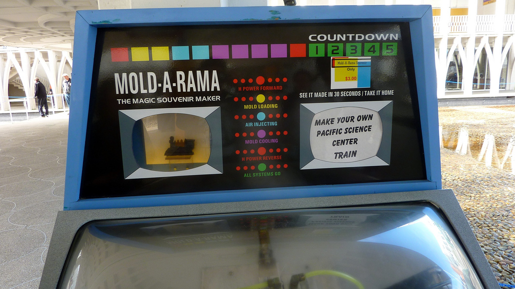 A Mold-A-Rama machine with a train at the Pacific Science Center in Seattle in 2010 (photo by Cory Doctorow/Flickr)