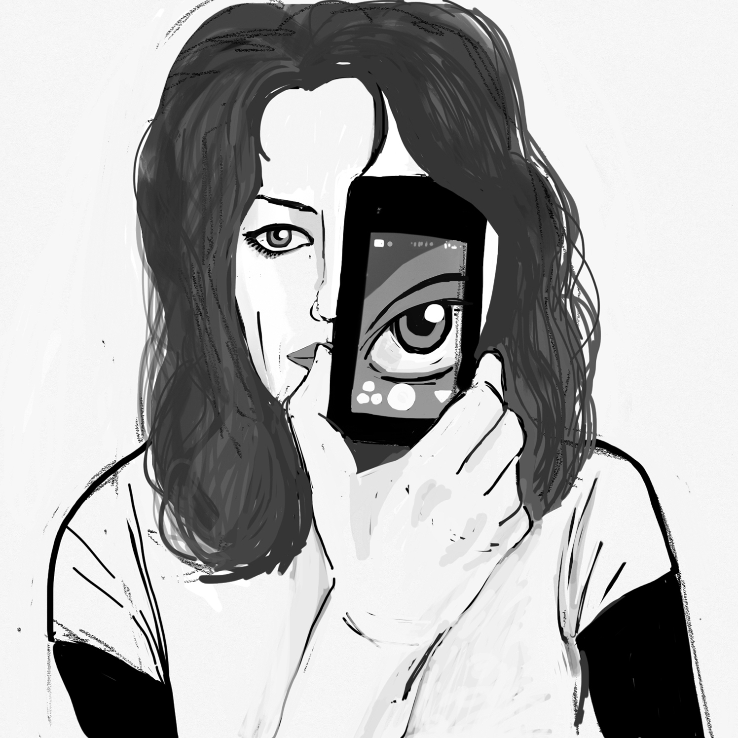 Selfie Drawing 01, 2015 courtesy of the artist